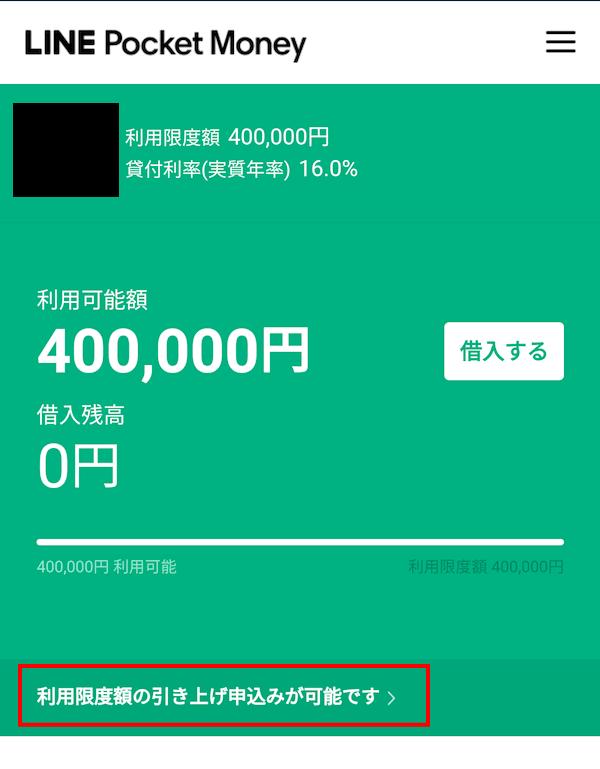 LINEポケットマネー増額申込画面画像
